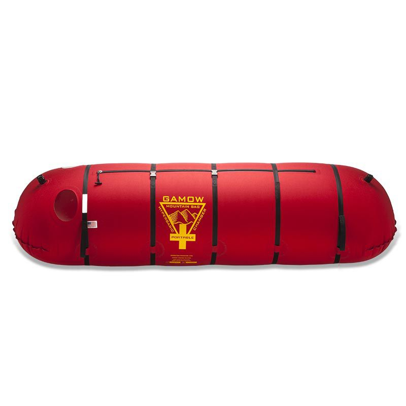 Red diving chamber. Hyperbaric technologies gamow bag