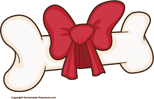 Dog with bow . Bone clipart two vector black and white download
