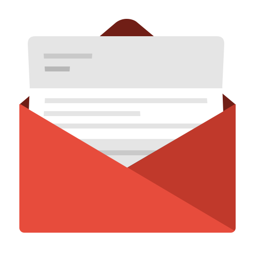 Envelope transparent letter. Red icon free icons