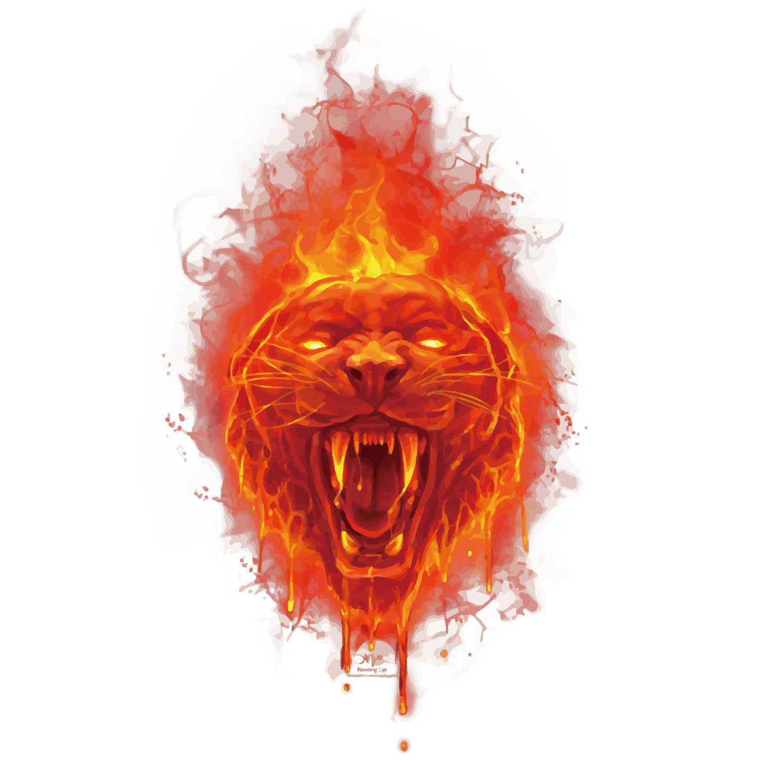 Red fire png. Tiger euclidean vector head