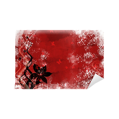 Red grunge background png. Wall mural pixers we