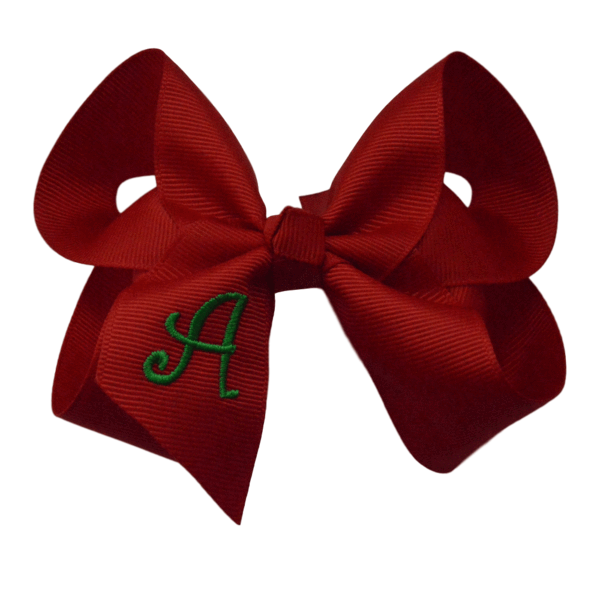 Red hair bow png. Inch with green