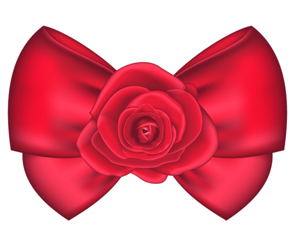Red hair bow png. Decorative with rose clipart