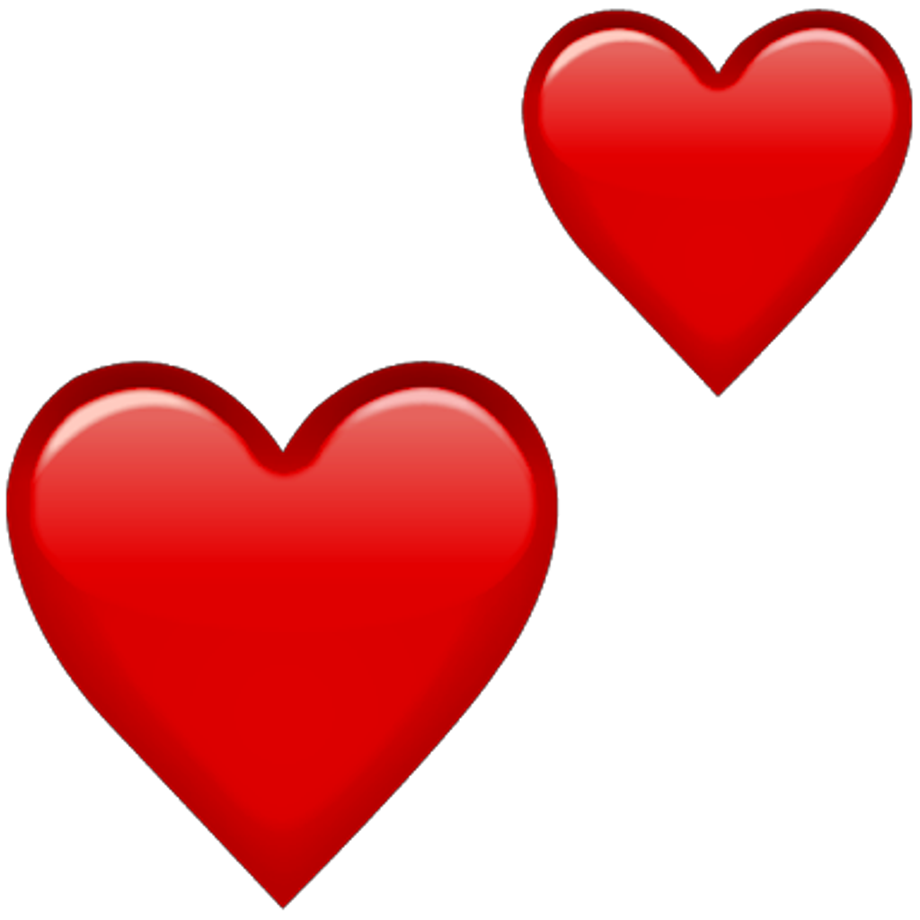 Red heart emoji png. Hearts double