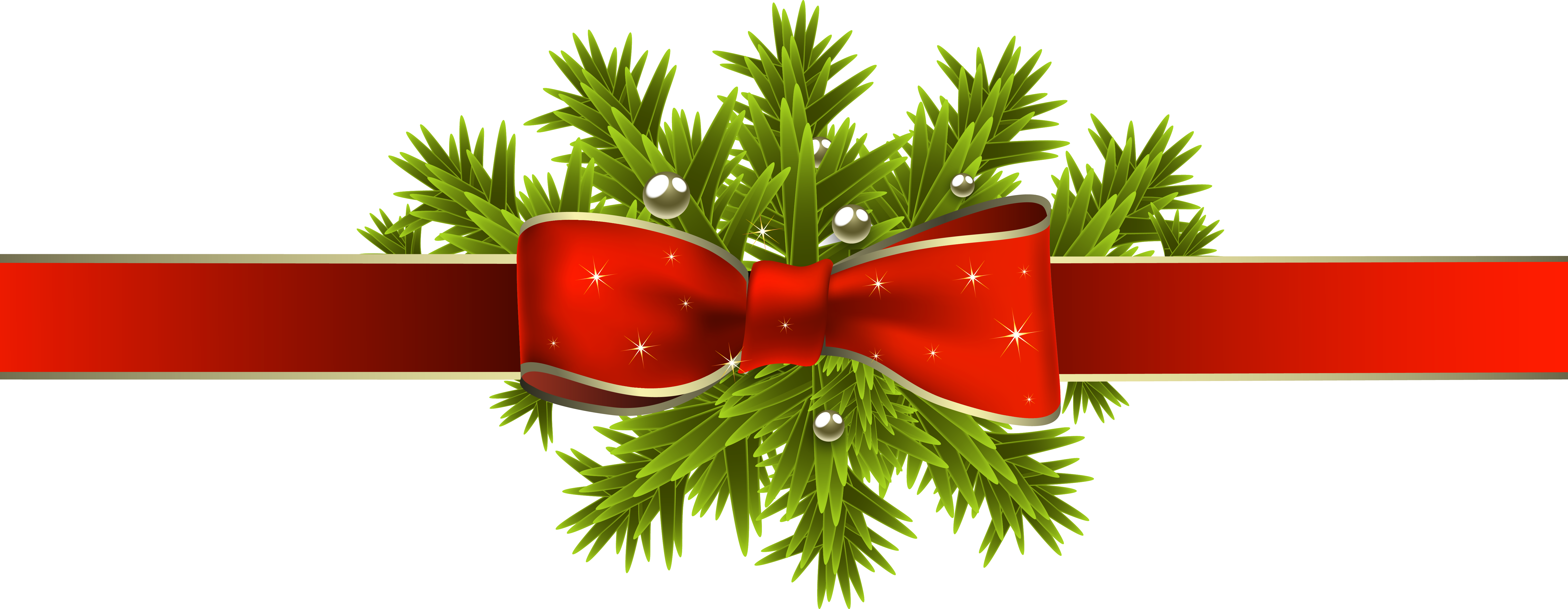 Red holiday bow png. Christmas ribbon with pine