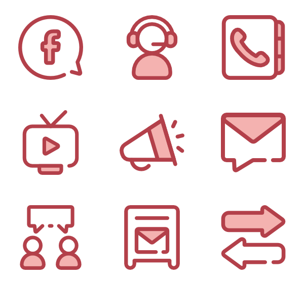 Red icon png. Monochrome family vector icons