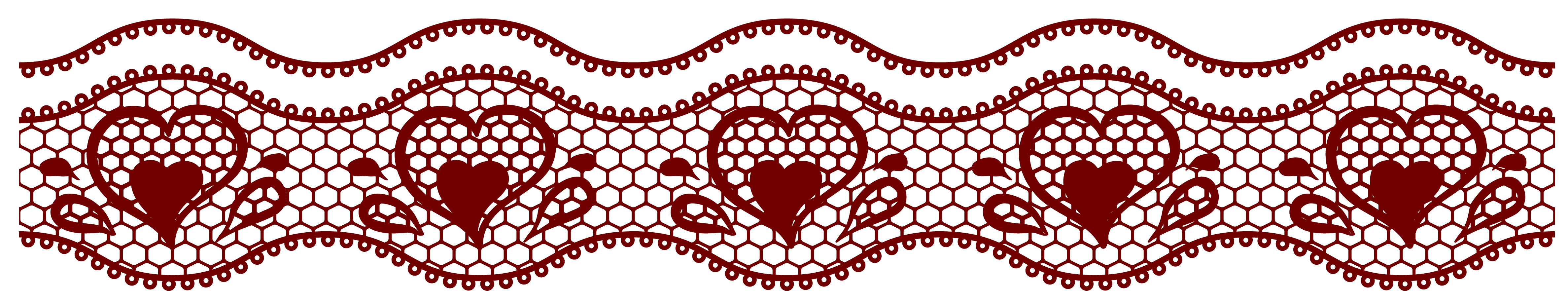 Red lace png. Transparent with hearts decoration