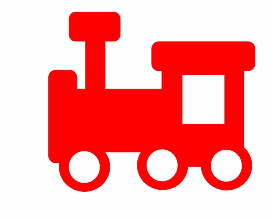 Red locomotive. Train steam toy silhouette