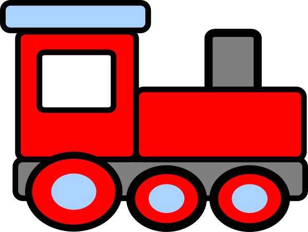 Red train. Cartoon clipart product transparent