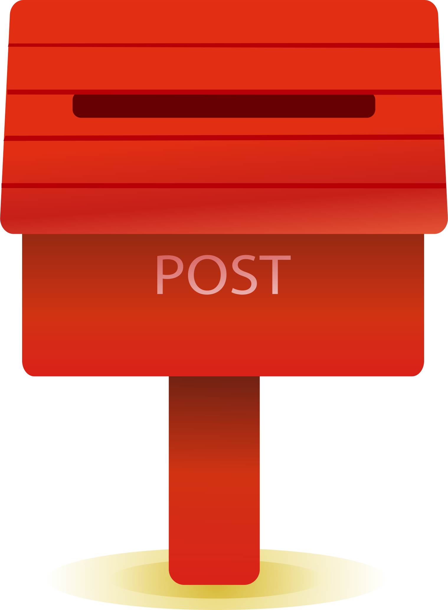 Red mailbox on post png. Cartoon drawing box transprent