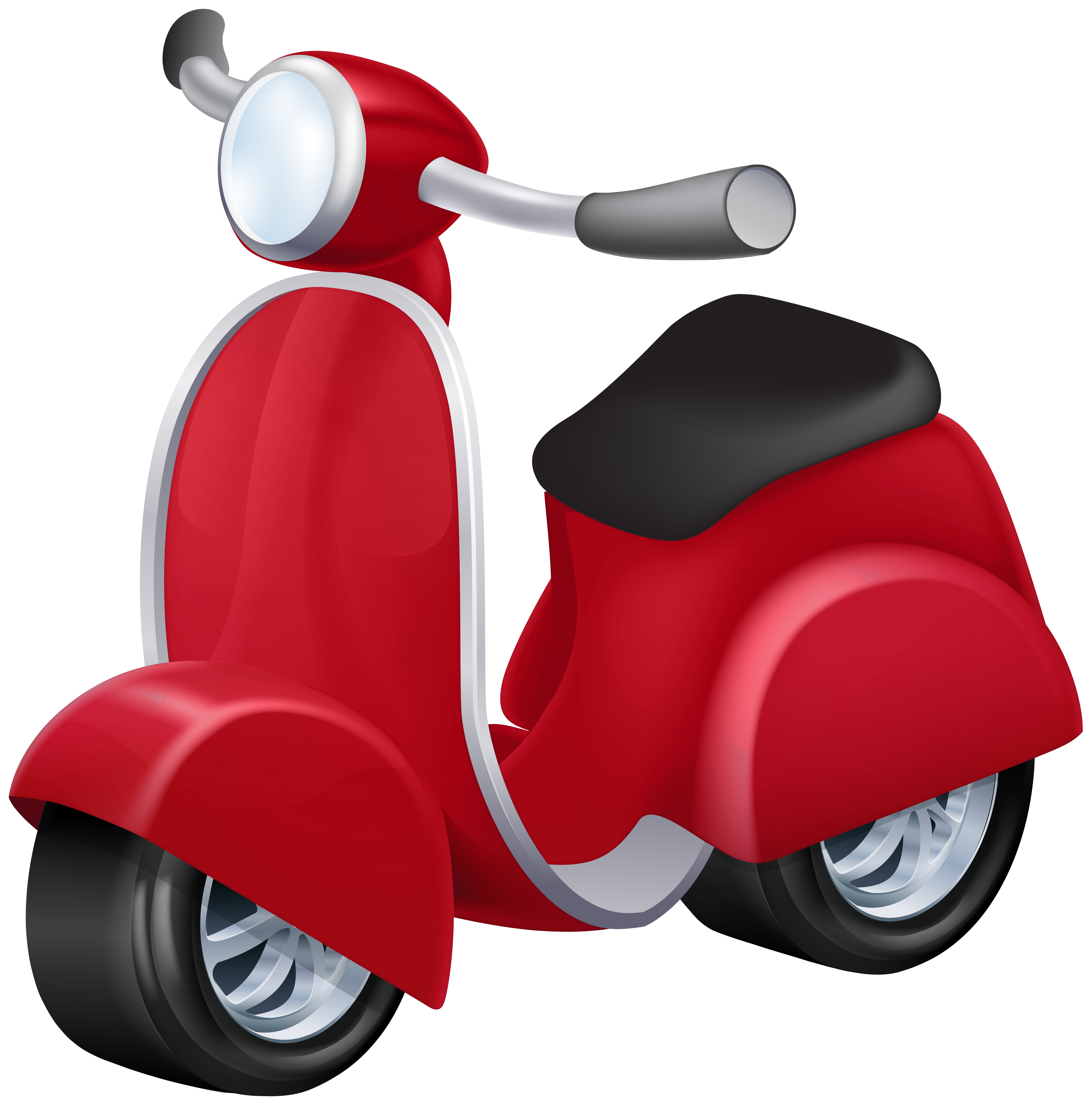 Red scooter. Vespa png clip art