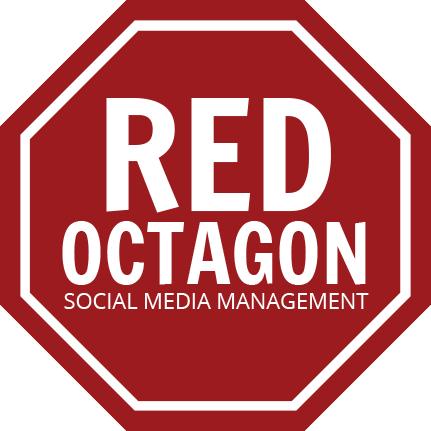 Octagon transparent red. Social media management digital
