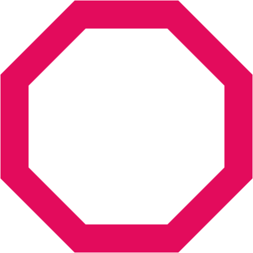 Octagon transparent outline. Raspberry red icon clip