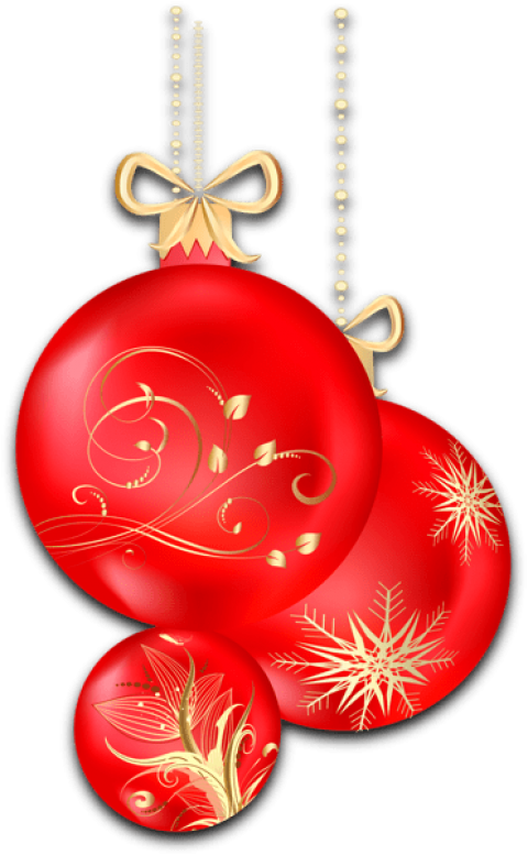Red ornaments png. Christmas transparent free images