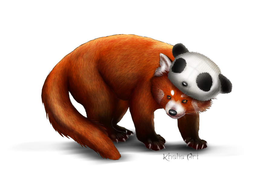 Red panda png. With beanie by khaliaart