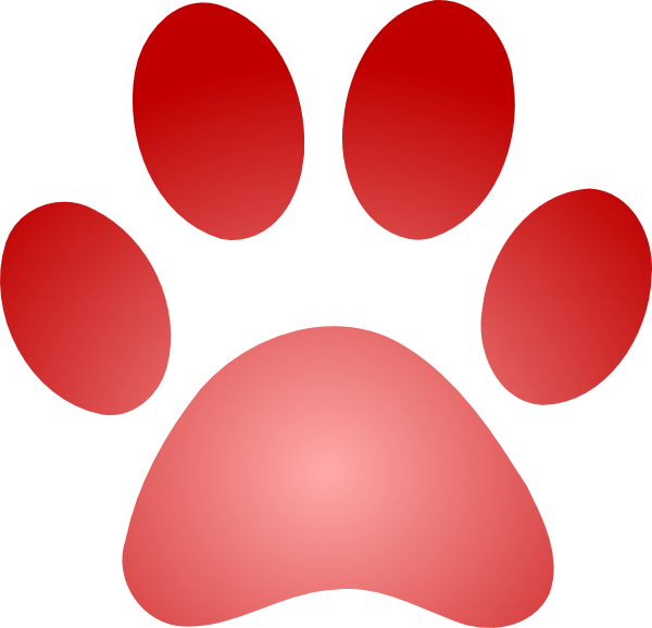 Red paw print png. With gradient clip art