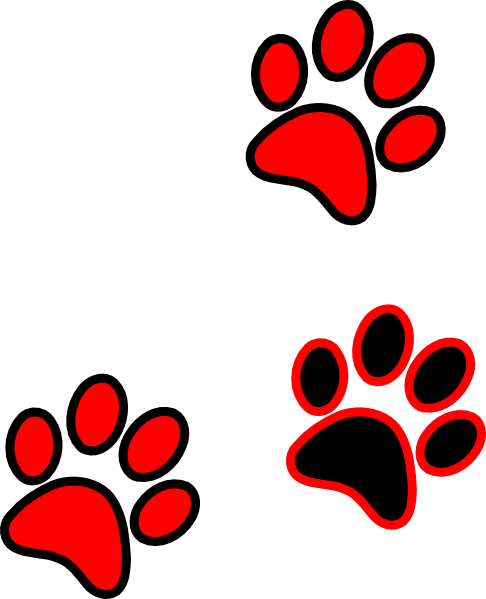 Red paw print png. Blue gold clip art