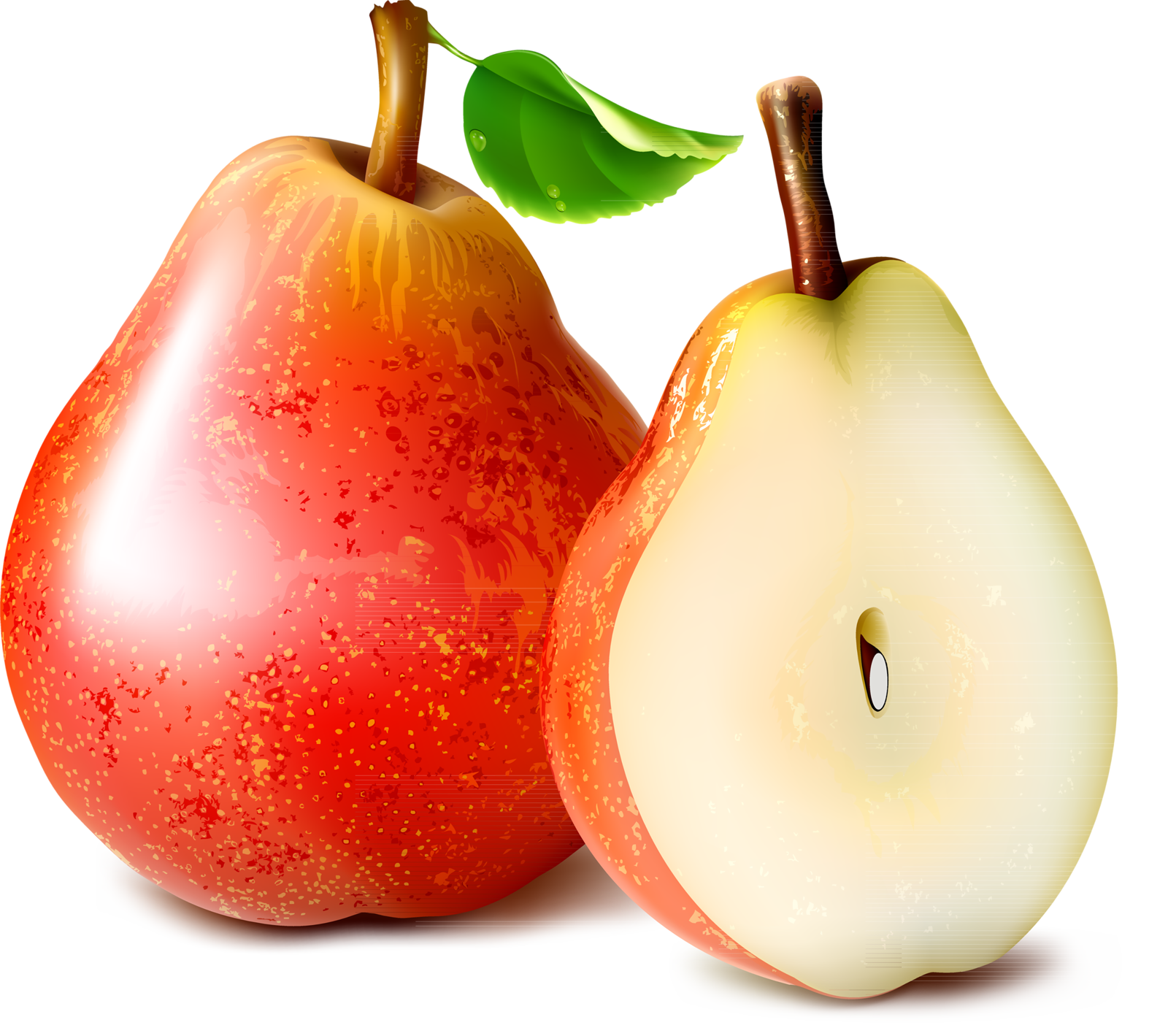 Red pear. Clipart slice transparent free