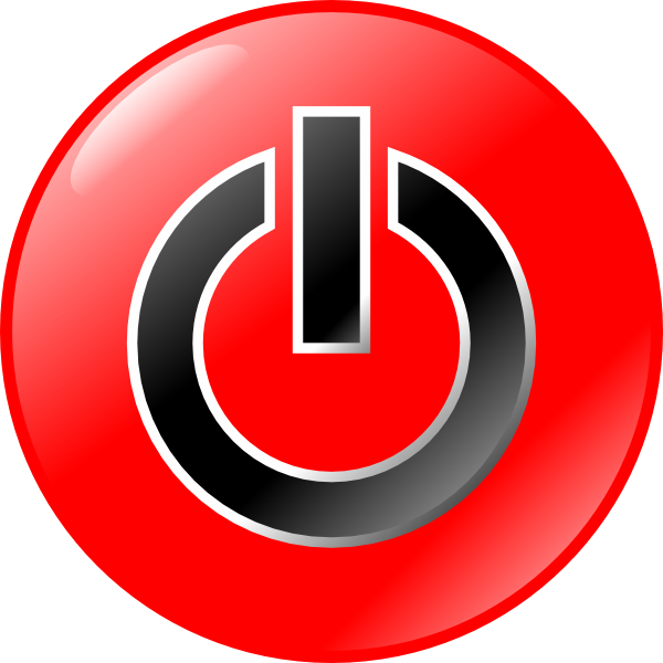 Vector power switch. Red black button symbol