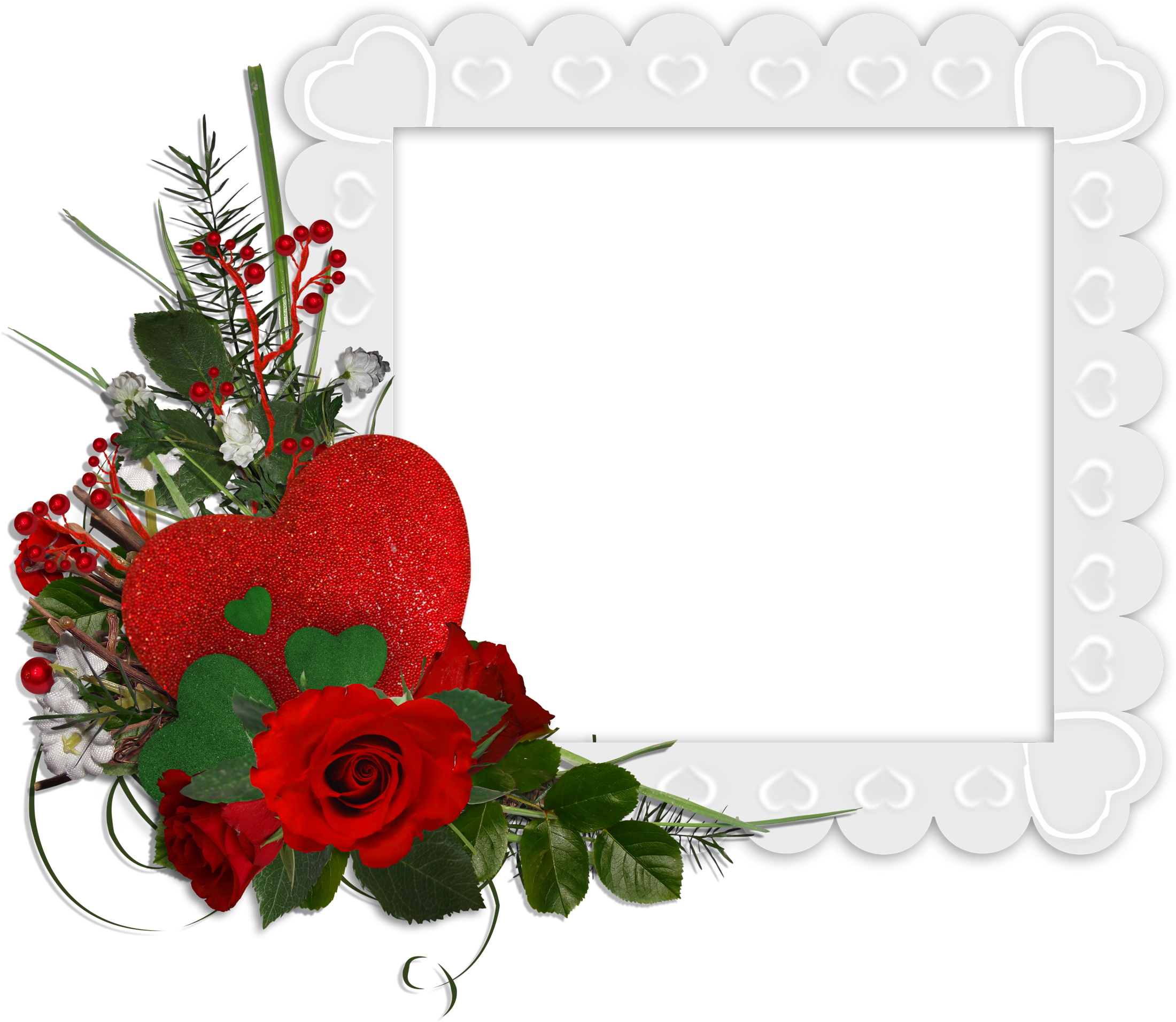 Red roses border png. Beautiful white transparent frame