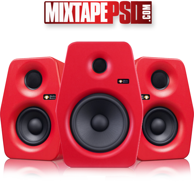 Red speakers png. Monitor studio psd official
