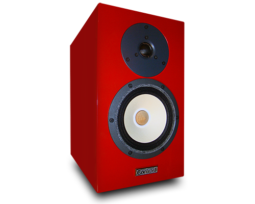 Red speakers png. Contrast audio model one