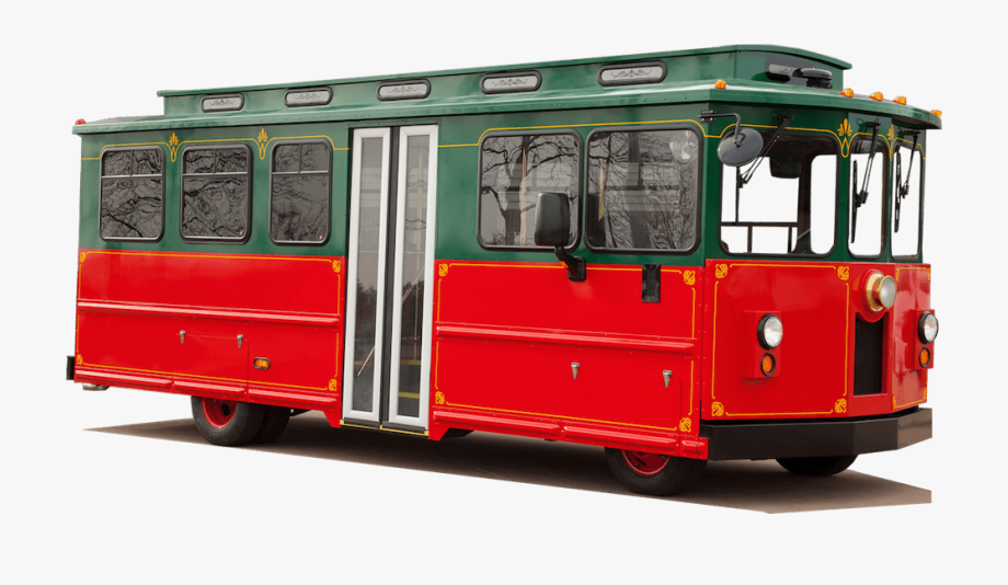 Red trolleybus. Our mini trolley is