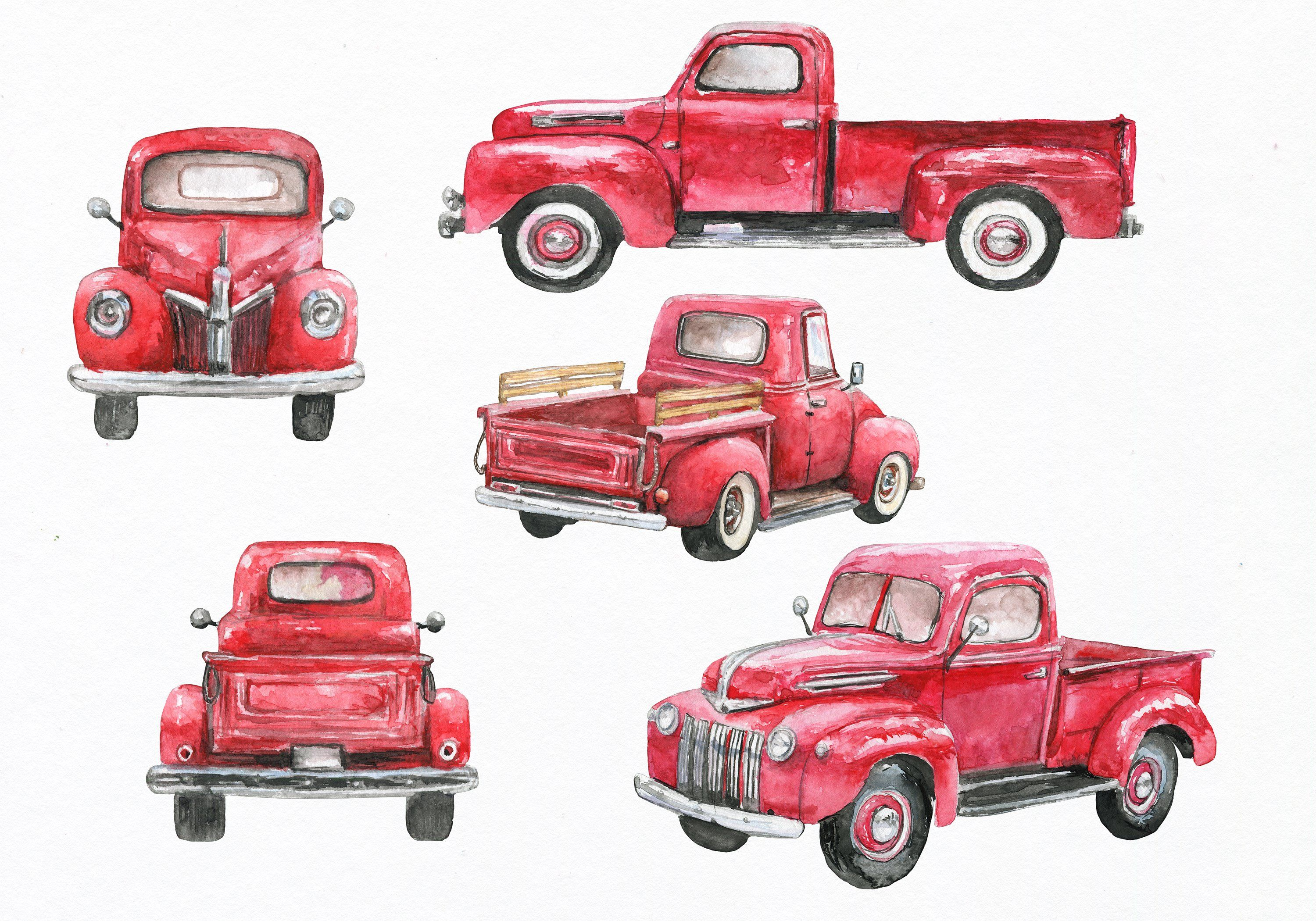 Red truck. Clipart watercolor by ephrazydesign
