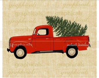 Red truck. Christmas tree my drawing