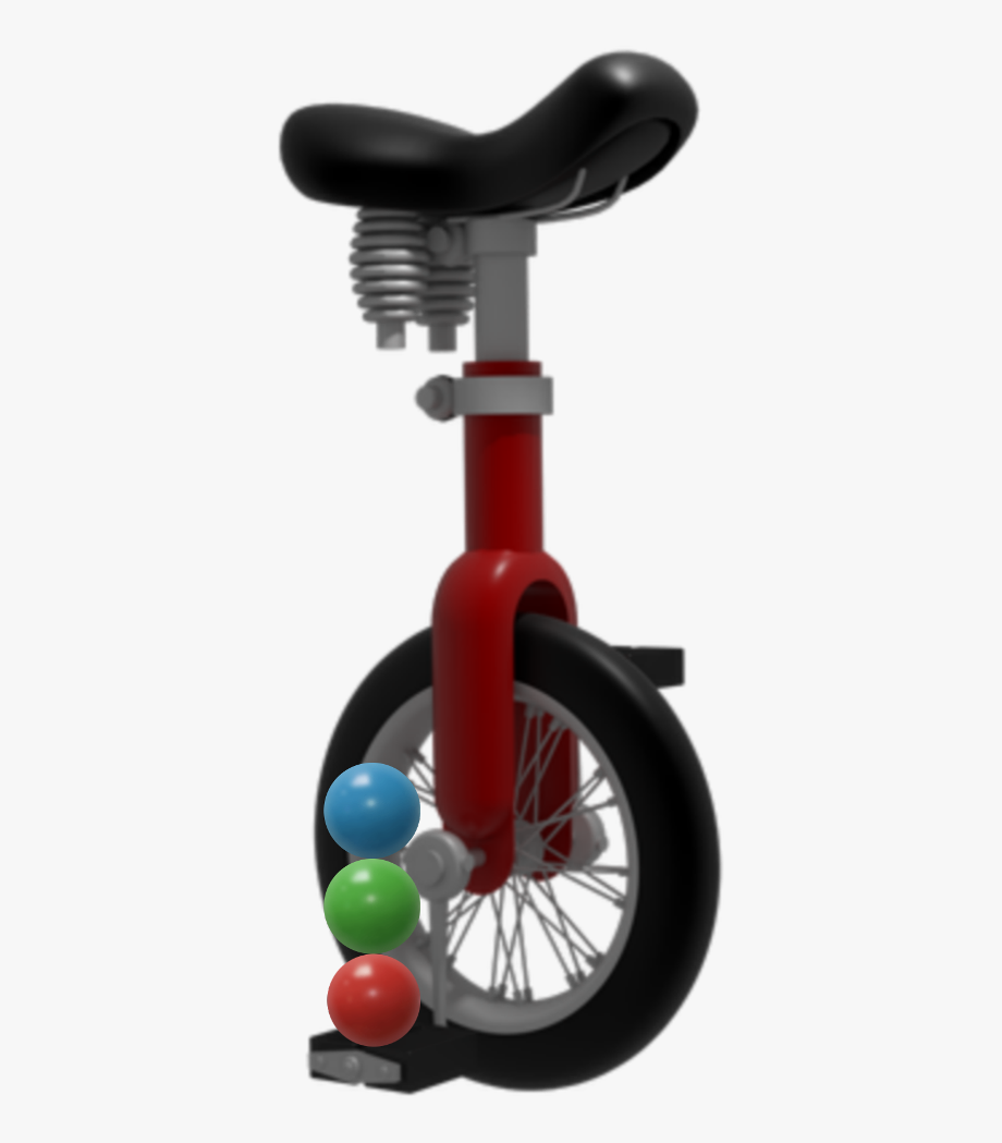 Red unicycle. S dream transparent cartoon