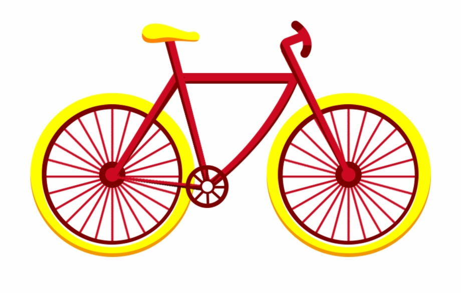 Yellow velocipede. Red bicycle vehicle flat