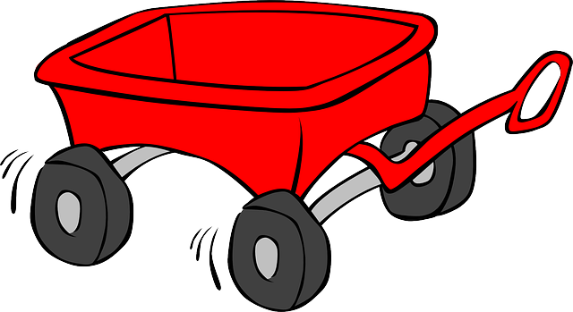 Red wagon. Cart trolley kid toy