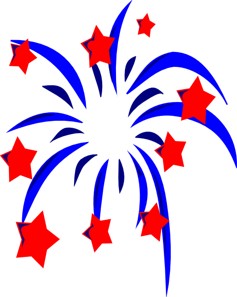 Red white and blue fireworks png. With stars accents clip