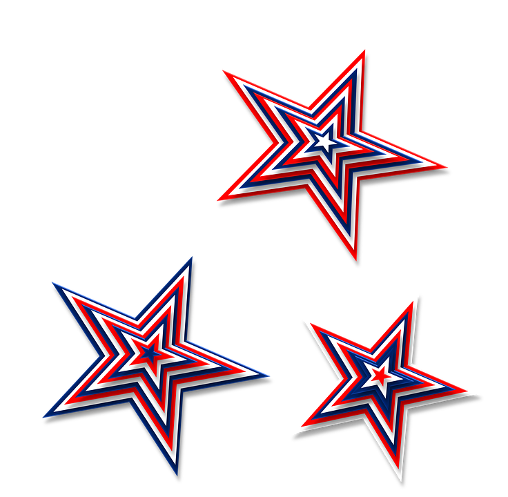 red white blue stars png