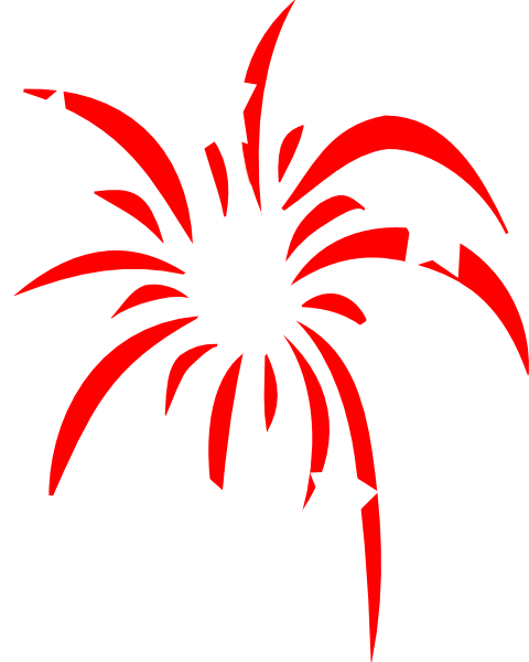 Fireworks clip star. Red with white stars
