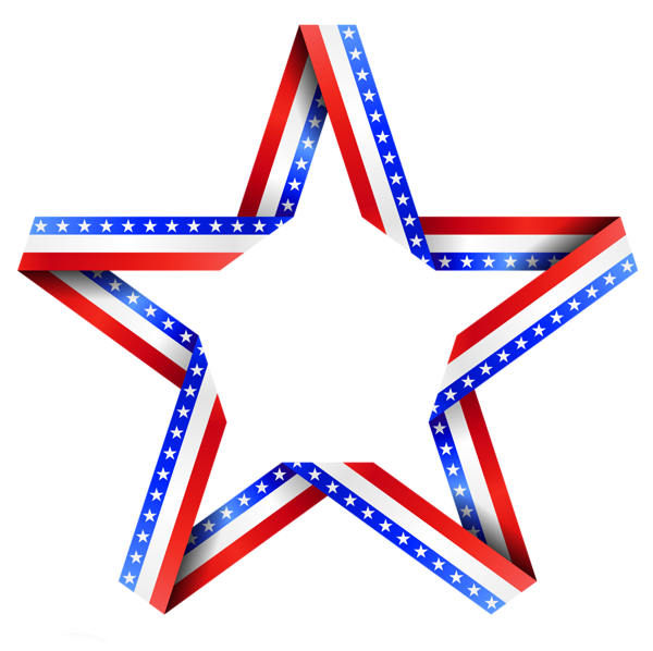 Red white and blue stars png. American star decor clipart