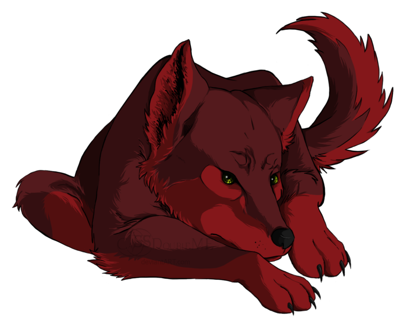 Silver drawing red wolf