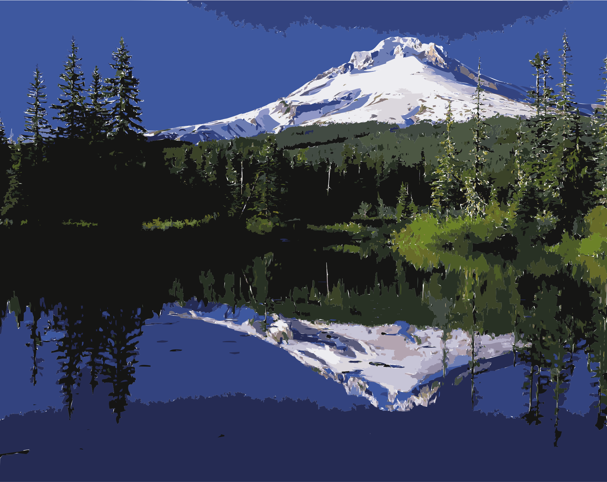 Reflect vector moon reflection. Mount hood reflected in