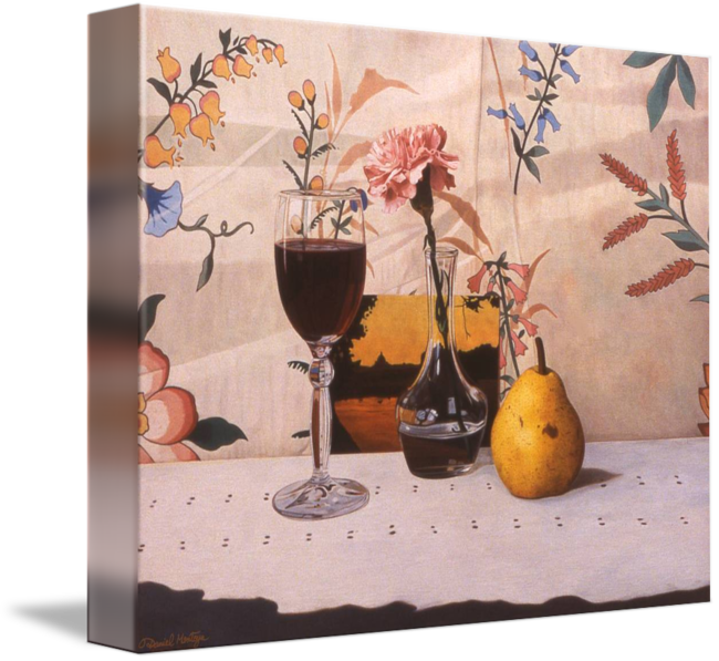 Reflective drawing still life. Wine glass pear pink