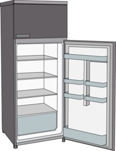 Fridge vector art. Open refrigerator clip at