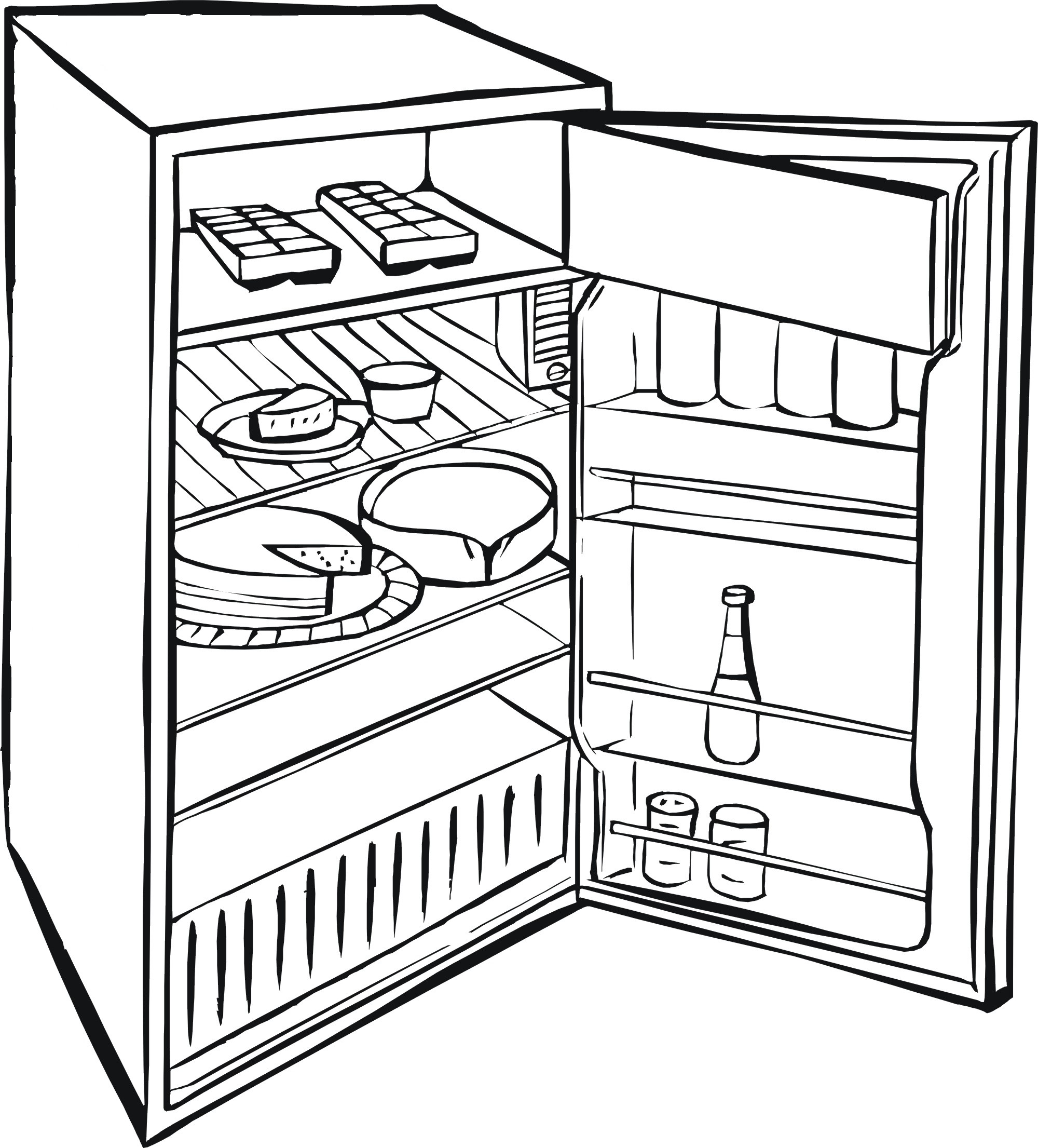 Refrigerator clipart coloring page. Fridge the gallery for