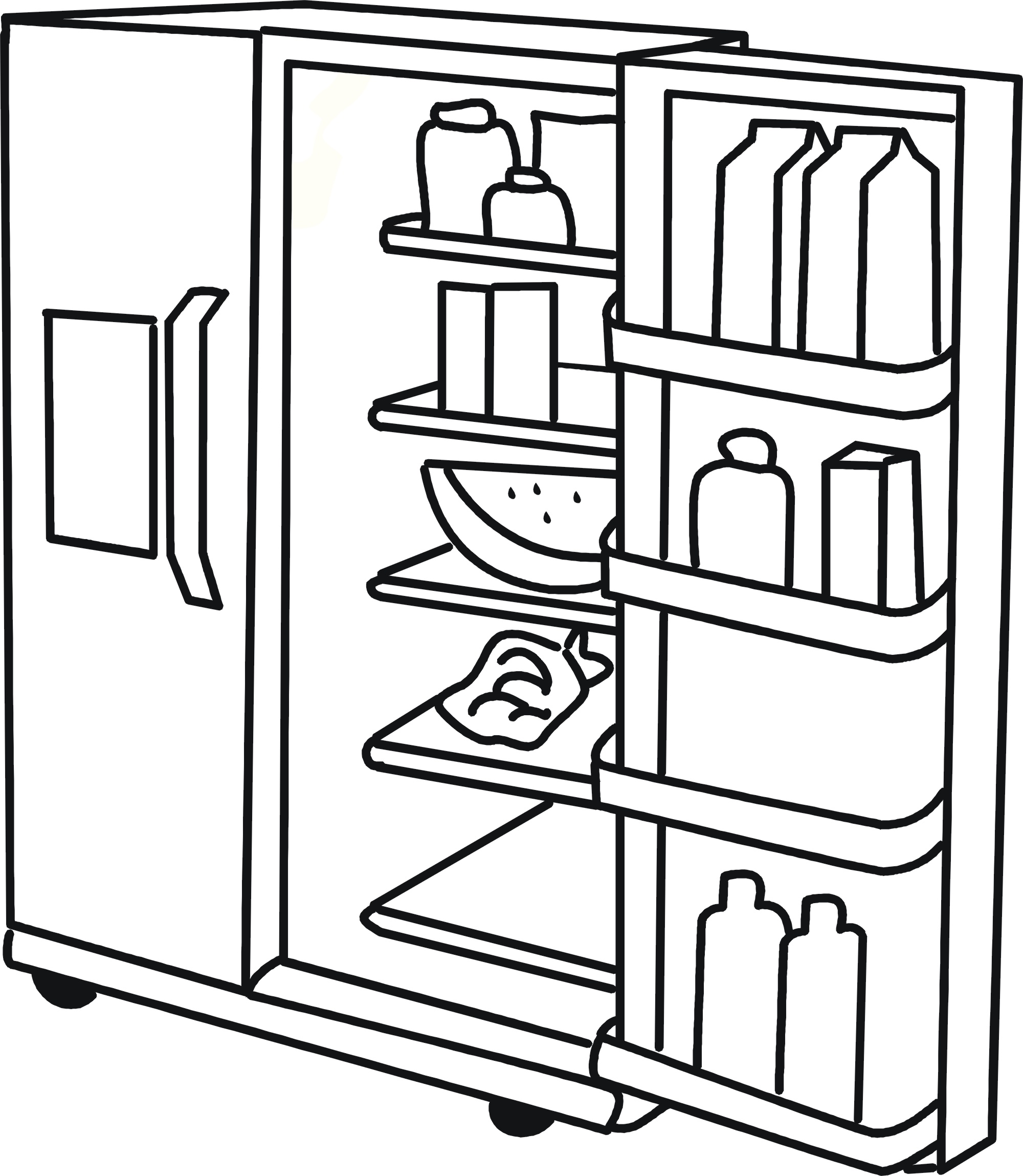 Refrigerator clipart coloring page. Fridge at getcolorings com