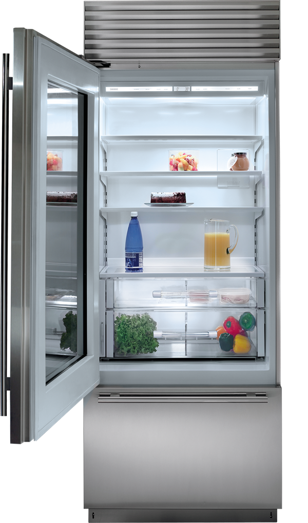 Transparent refrigerator zero. Built in over