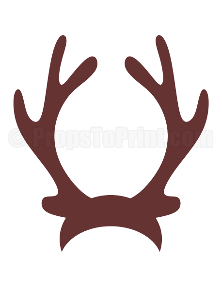 Printable photo booth prop. Reindeer antlers png graphic black and white stock