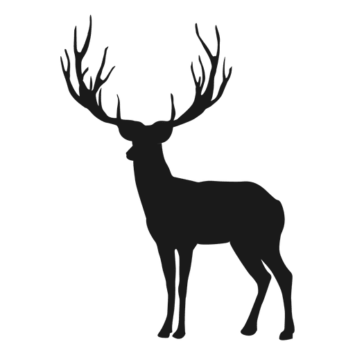 Reindeer black antlers png picture. Silhouette transparent svg vector