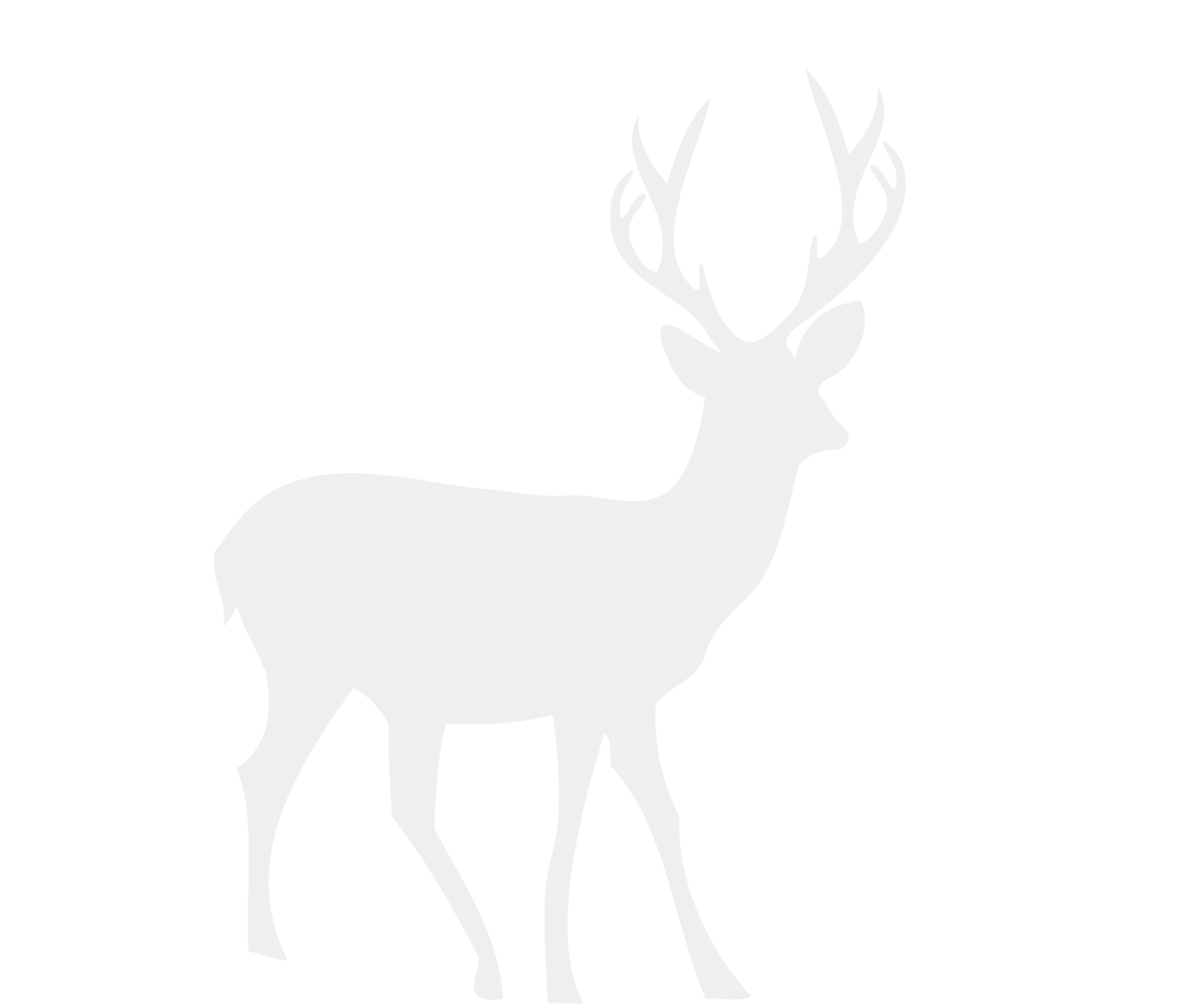 Reindeer black antlers png picture. Cartoon white tailed deer