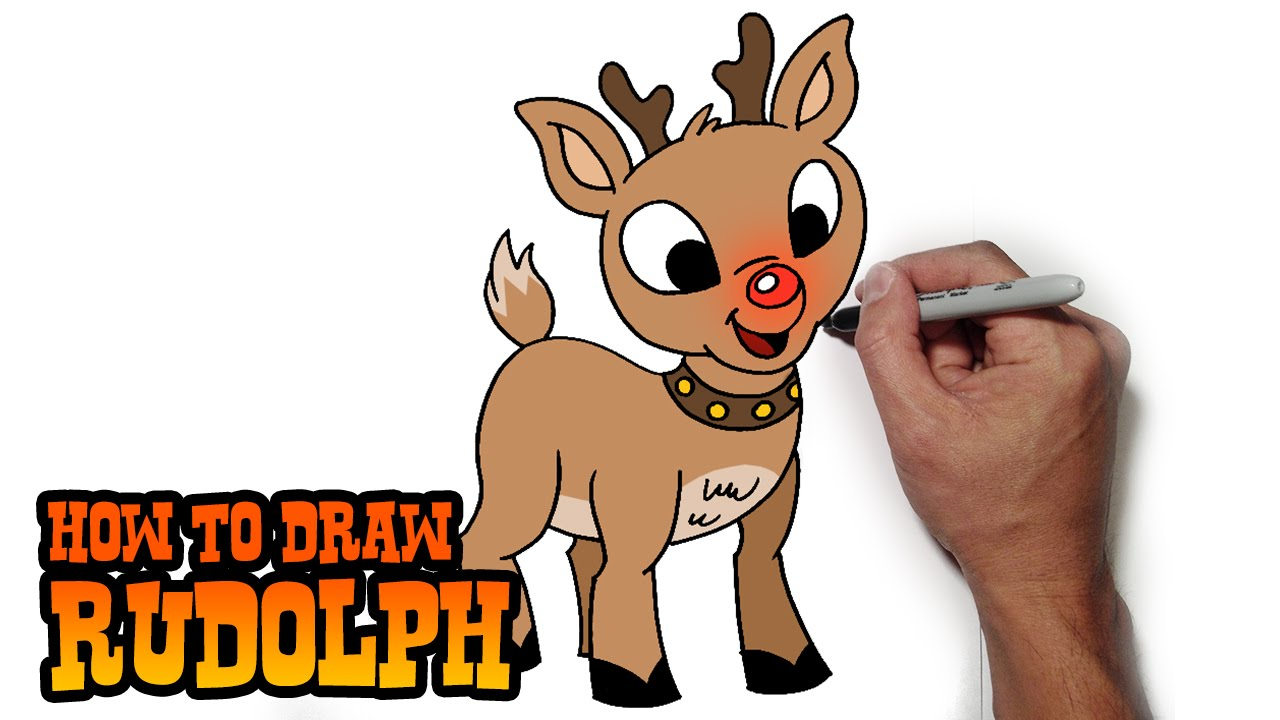 Reindeer clipart easy. How to draw rudolph