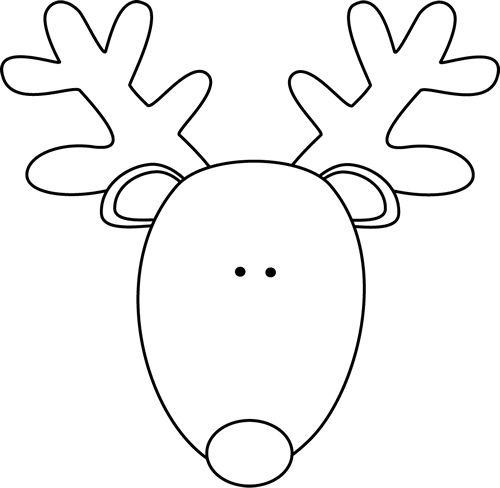 Head black white png. Reindeer clipart simple clipart free stock