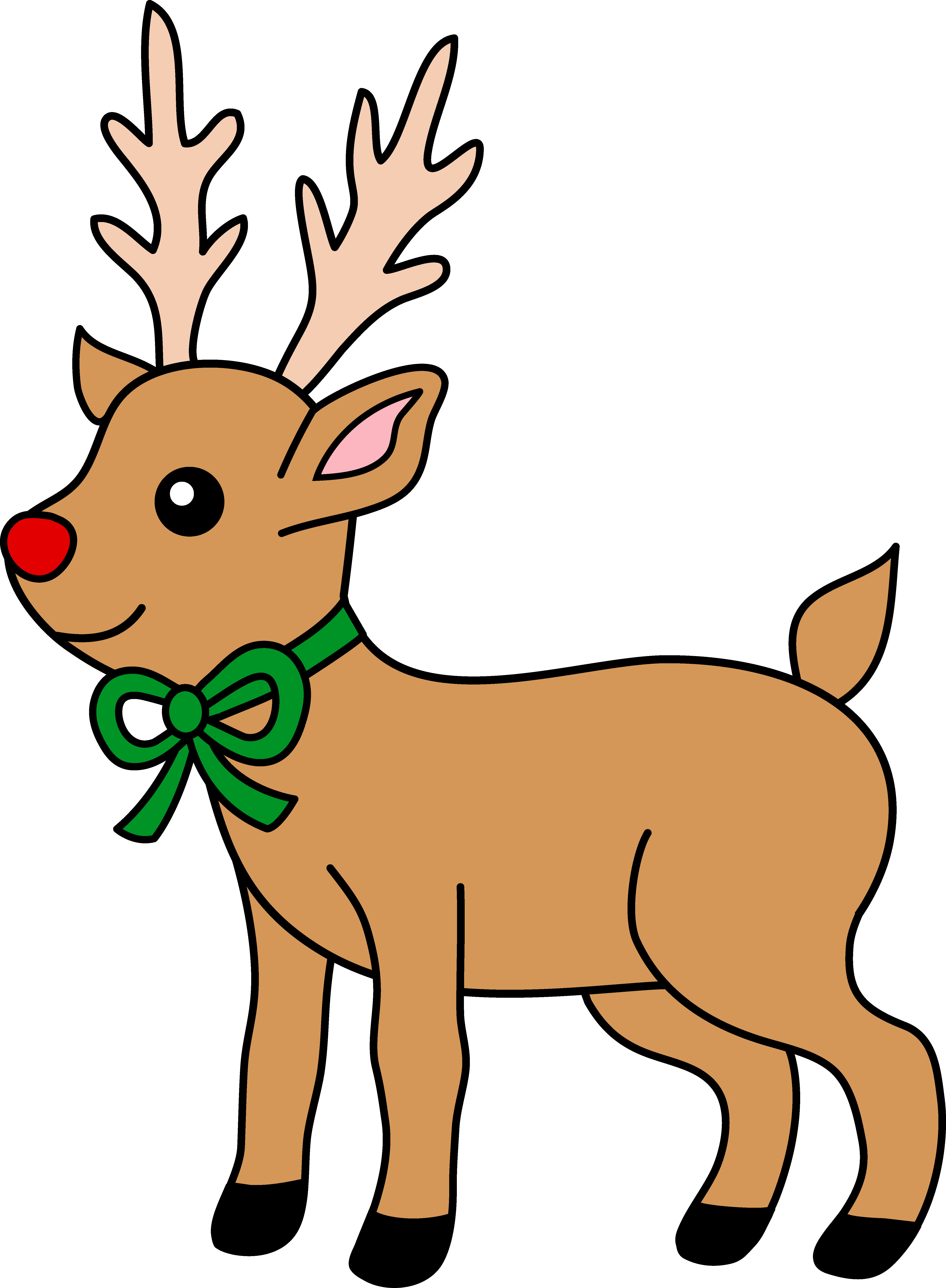 Reindeer clipart simple. Cute red nosed free