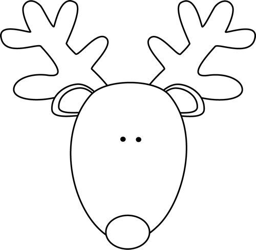 Reindeer clipart template. For ugly sweater face